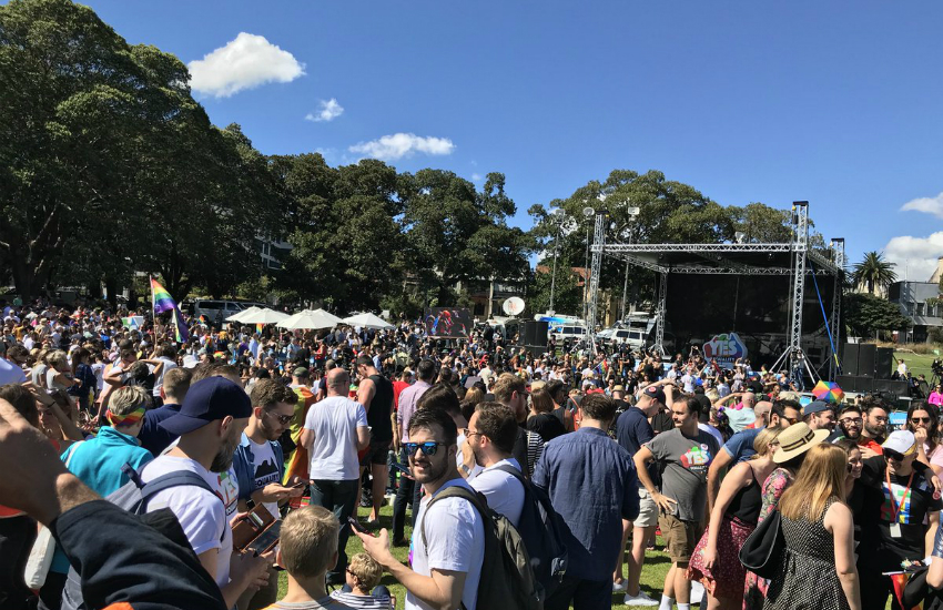 LGBTI rights supporters gather to hear Australias marriage equality survey at Sydney's Prince Alfred Park (Photo: Twitter)
