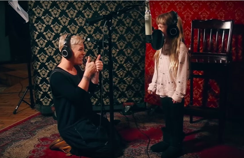 Pink and daughter Willow Sage Hart in the recording studio