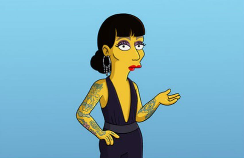 Raja, as a Simpsons character