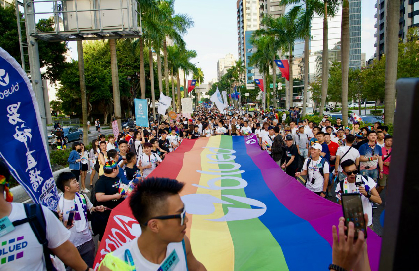 LGBTI supporters march along the streets of Taiwan's capital, Taipei (Photo: Twitter)