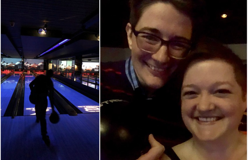 two photos. the one on the left is in a dark bowling alley and shows a woman bowling from behind. The other is a selfie of a lesbian couple who are smiling at the camera