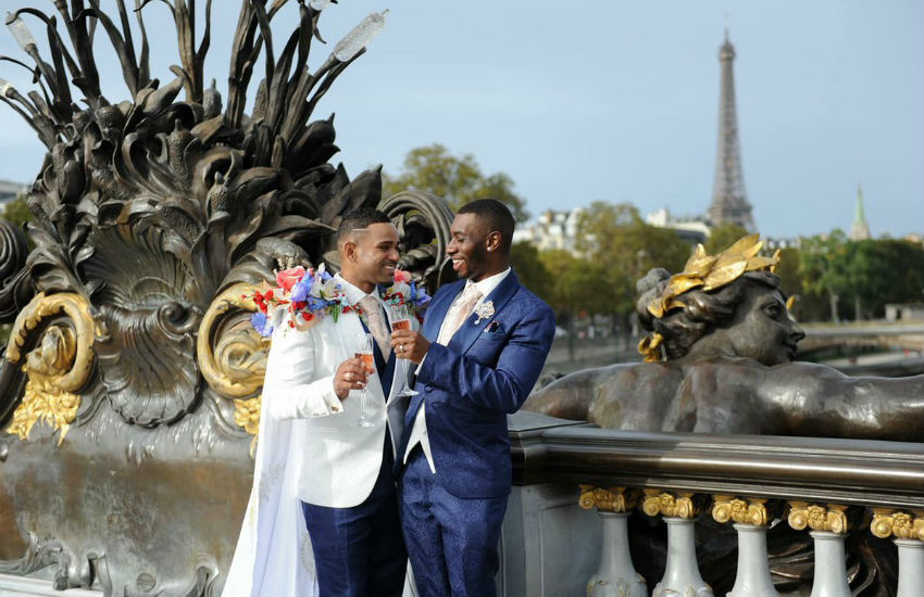 James and Riccardo Burrell-Hinds married in Paris