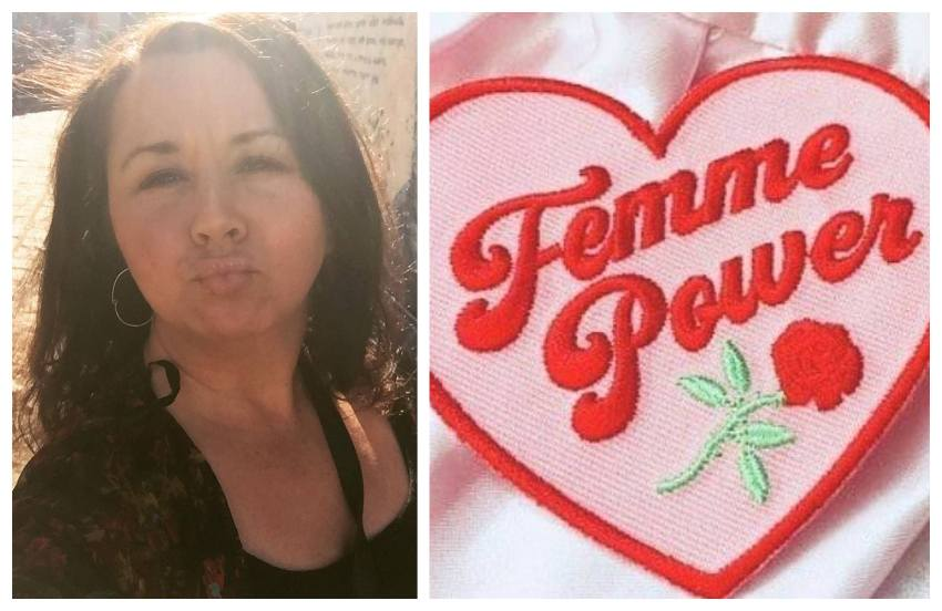 two photos, the one on the left is of shannon doing duck face in a selfie, her hair is straight and the sun is shining behind here. the other photo is of an embroided love heart in pink and red which reads femme power