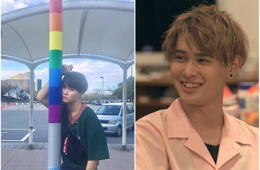 two photos. one is ikezoe standing against a lamp pole with rainbow colours, the other shot is of ikezoe on terrace house, he wearing a pink shirt and has blonde hair