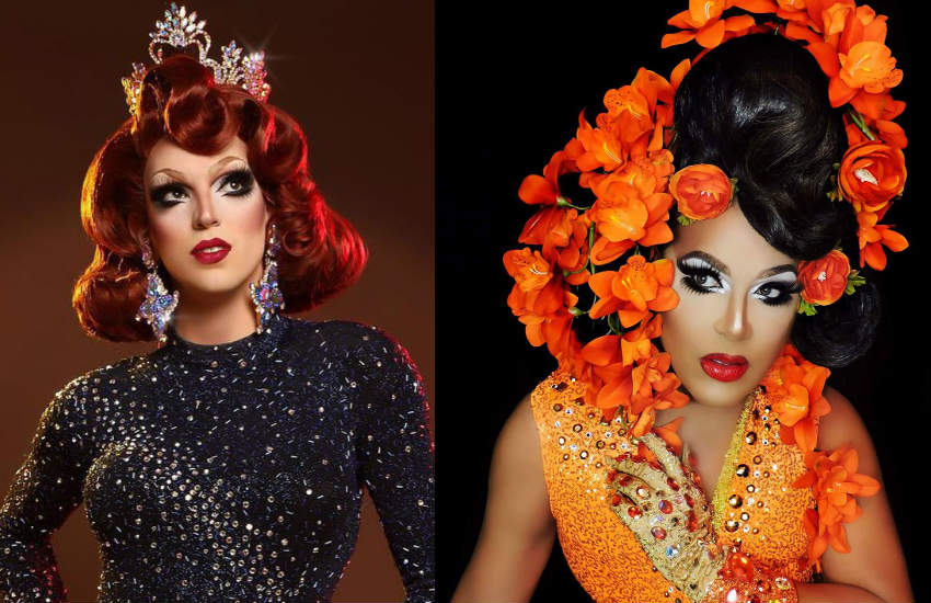 Close ups of drag queens Fifi DuBois and Alexis Mateo.