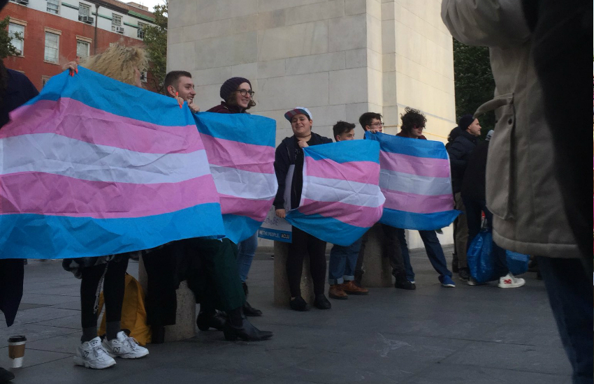 Protesters gather to support transgender rights