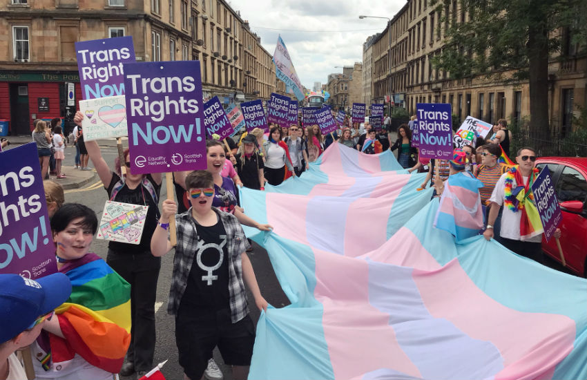 Trans rights advocates march at Glasgow Pride, 14 July 2018 equality