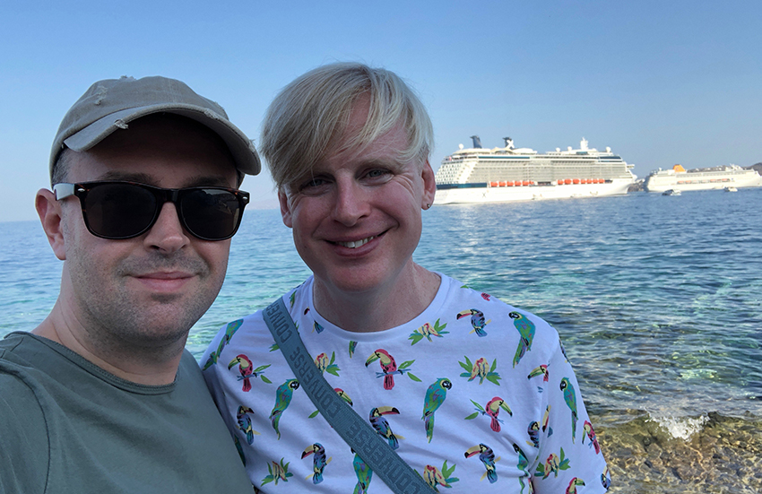 First time guests Scott and Tris with Celebrity Reflection in the crystal clear waters of the Mediterranean