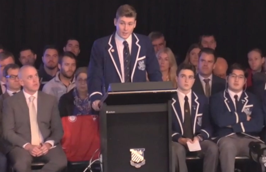 Finn Stannard giving his coming out speech to his Catholic school