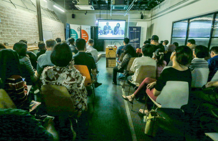 LGBTI advocates and NGOs watch a live stream of Malaysias UN human rights review (Photo: Twitter)