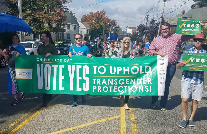 People marching for Yes on Prop 3 in Massachusetts