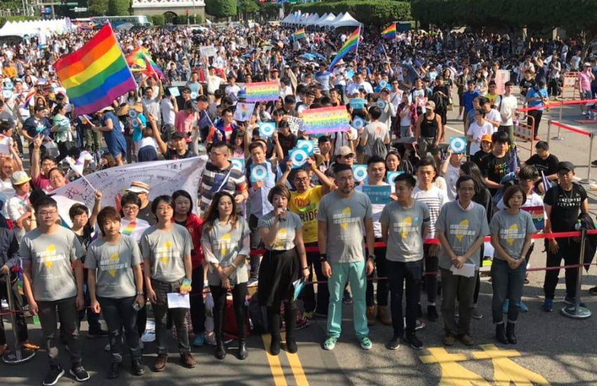 Tens of thousands of equal marriage supporters rallied in Taipei, Taiwan on Sunday (Photo: Facebook)