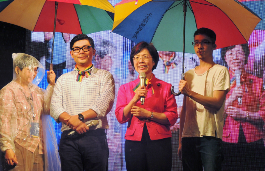 Lawmakers celebrate Taiwans Constitutional Court decision in favor of equal marriage (Photo: Provided)