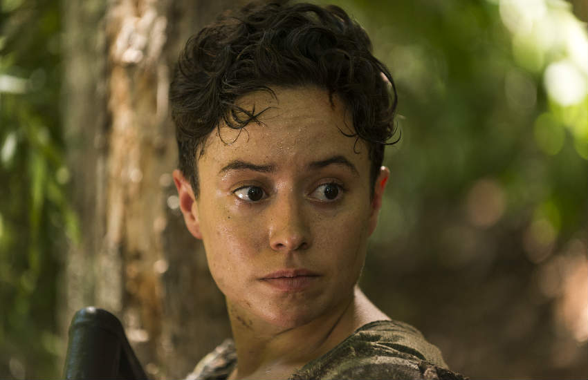Close up of actress Briana Venskus in the role of Beatrice in The Walking Dead.