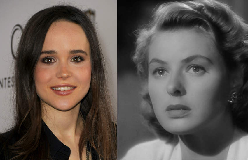 Closeups of Ellen Page and Ingrid Bergman as Ilsa in Casablanca