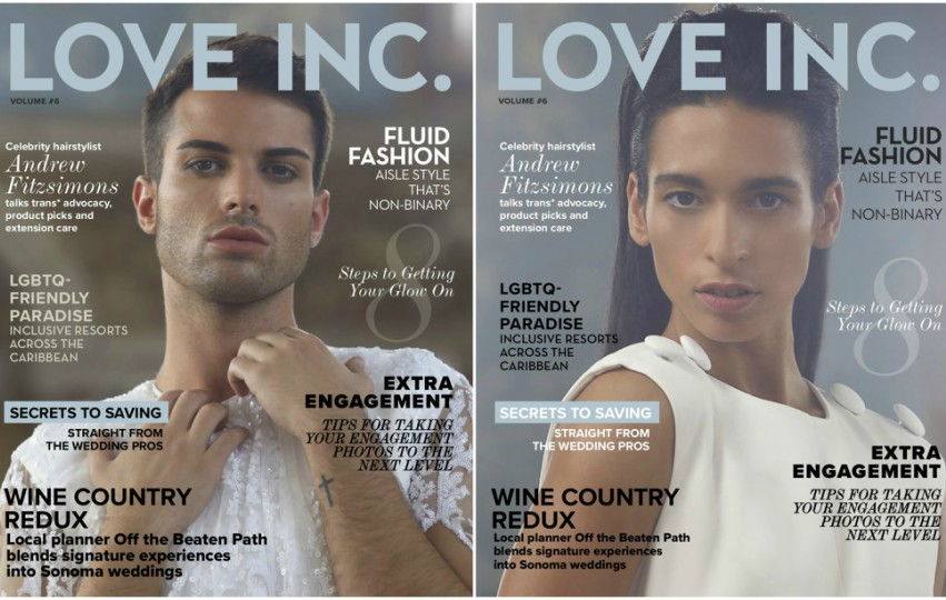 two magazine covers, one features a man in a white dress the other is a woman in a white top