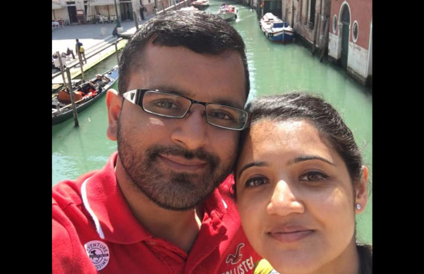 A selfie of Mitesh Patel and his wife Jessica on holiday in Venice.