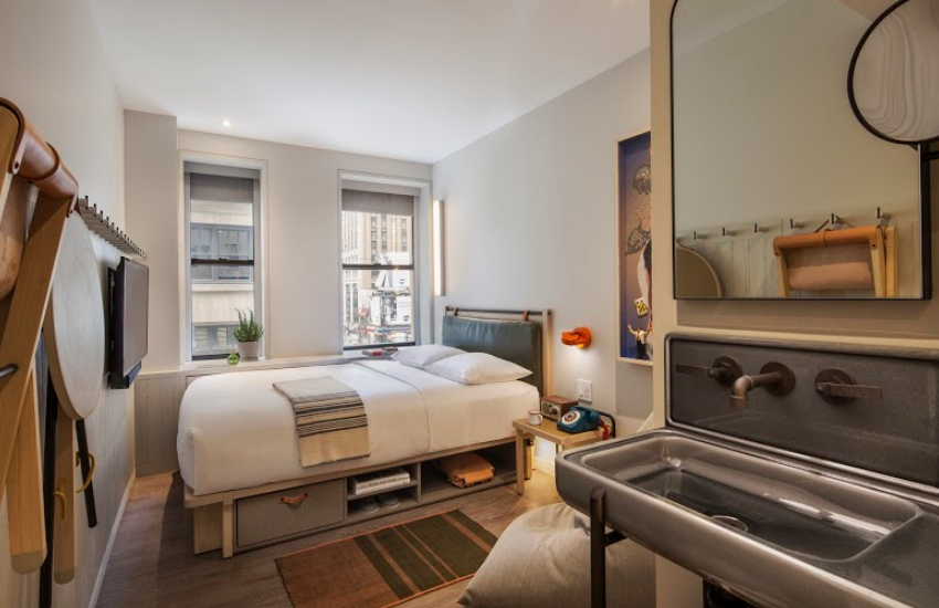 A Queen room at The Moxy Times Square | Photos Photo: By Michael Kleinberg, supplied by Moxy NYC Times Square