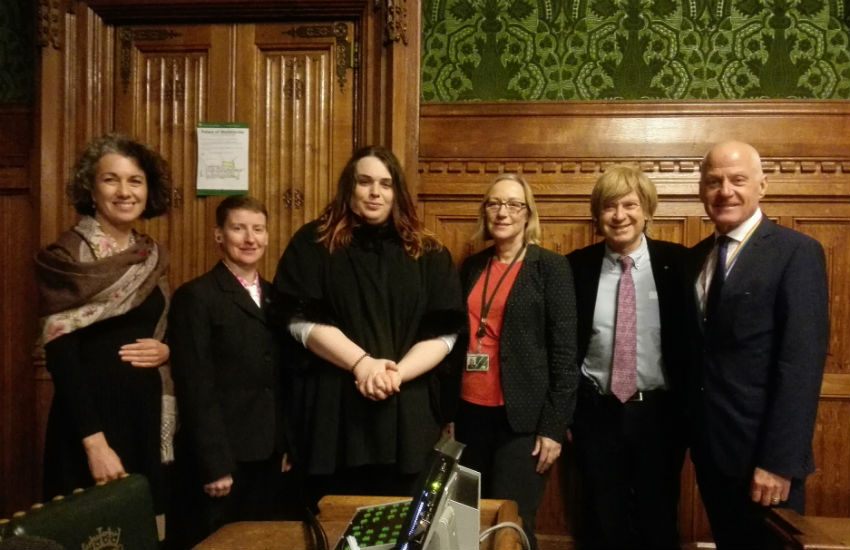 L-R: Sarah Champion MP, Tigger Blaize, Bex Stinson, Gill Furniss MP, Michael Fabricant MP and Lord Michael Cashman at the Trans Day of Remembrance event at the Houses of Parliament