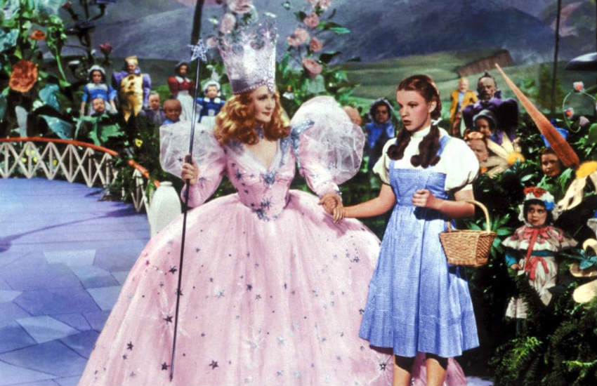 Billie Burke as Glinda and Judy Garland as Dorothy in The Wizard of Oz.