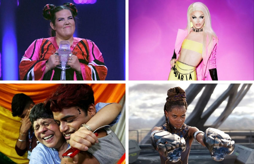 How did you do in our 2018 quiz of the year? | Photo: Eurovision Song Contest (top-left), RuPaul's Drag Race/VH1 (top-right), Facebook (bottom-left), Black Panther/Marvel (bottom-right)