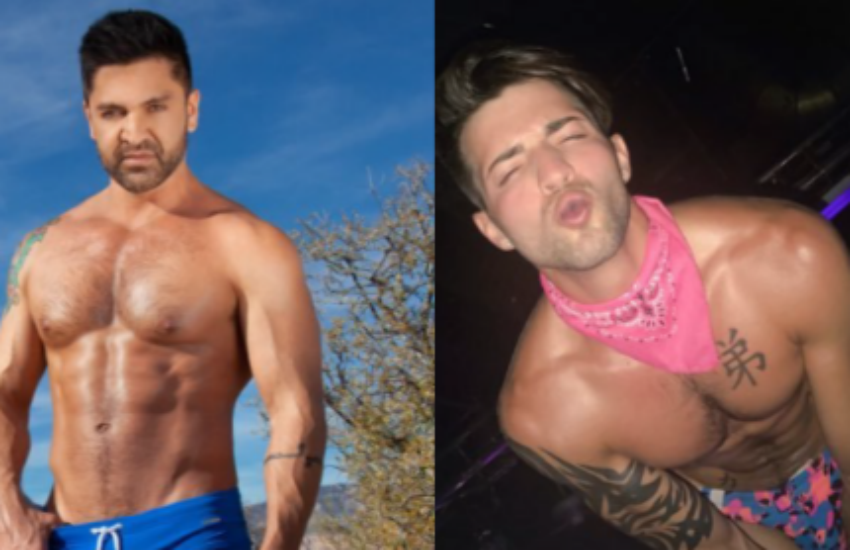 Porn star betrothal: Dominic Pacifico and Casey Everett got engaged on Christmas Day. Photo montage: Twitter