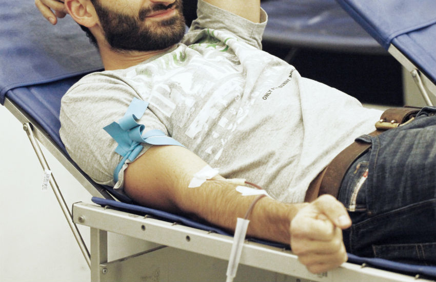 Man giving blood