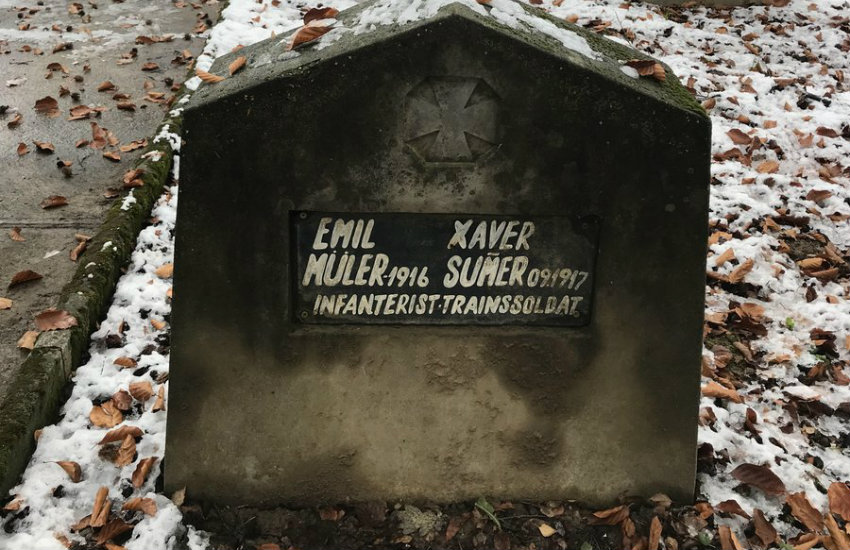 The grave of Emil and Xaver, soldiers from World War I
