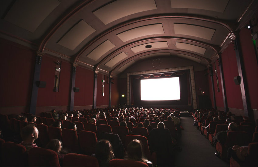 Movie theater full of people