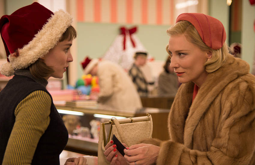 Rooney Mara and Cate Blanchett in a scene of Carol.