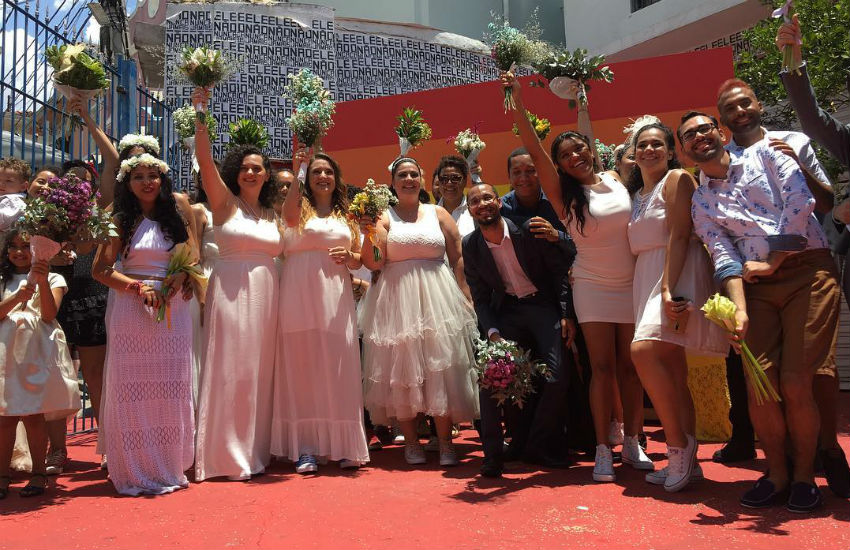 Some of the couples who wed Saturday at Casa1 in Brazil