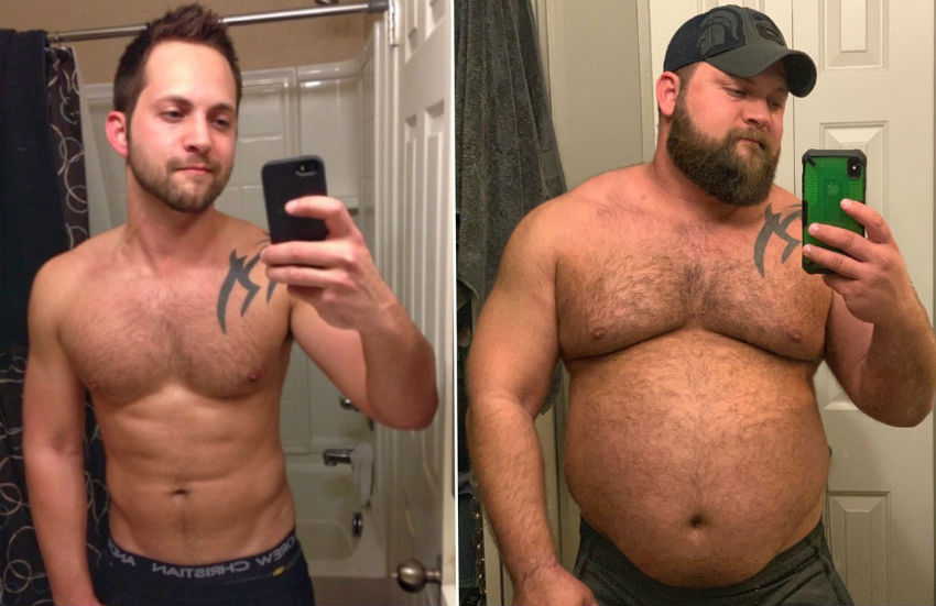 Dusty Fulle demonstrates his body transformation from twink to bear