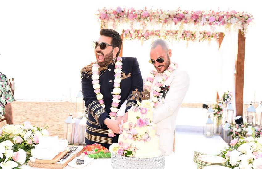 Hotelier and LGBTI activist Keshav Suri married French partner Cyril Feuillebois in a lavish Indian ceremony in Goa last week (Photo: Facebook)