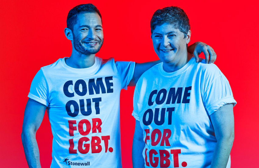 Trans acitivist Jake Graf and lesbian magazine publisher Linda Riley in a Stonewall campaign image