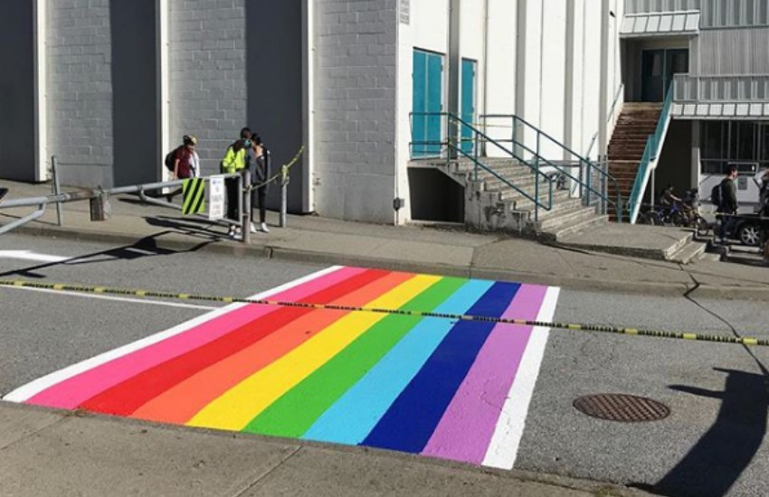 The rainbow crossing outside a school in Vancouver, Canada