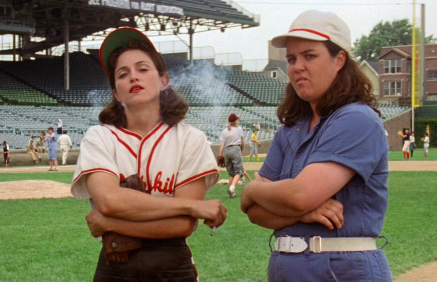 Madonna and Rosie O'Donnell in a scene of A League of Their Own.