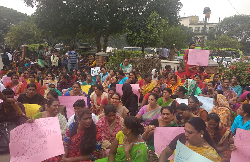 Transgender community protesting in Bengaluru (Photo: Facebook)