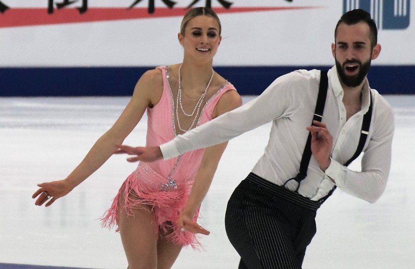 Timothy LeDuc and Ashley Cain skating in 2018