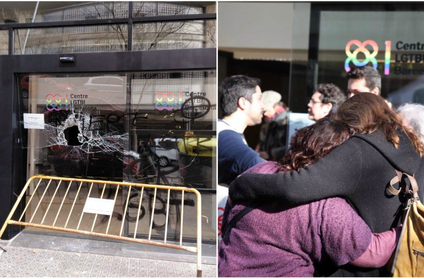 two photos. on the right, two women hugging outside the Barcelona LGBTI Center. photo on the left shows vandalized windows