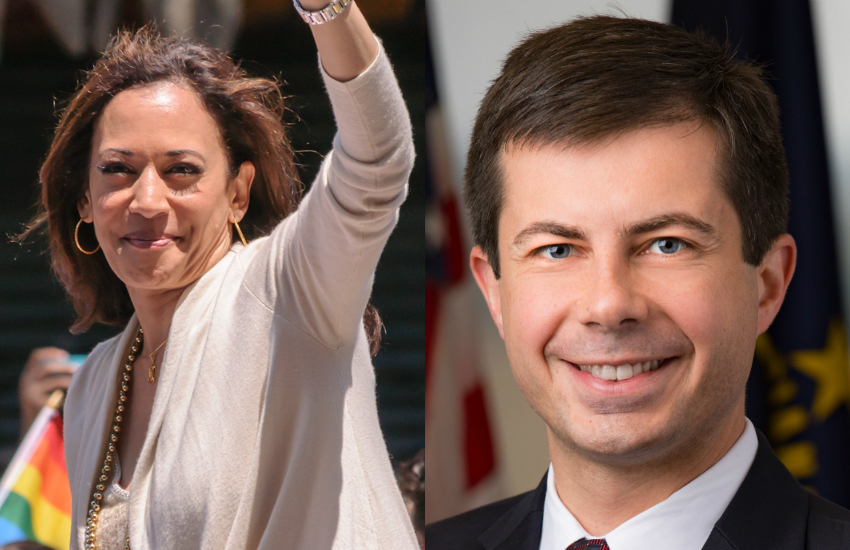 Democrats Kamala Harris and Pete Buttigieg