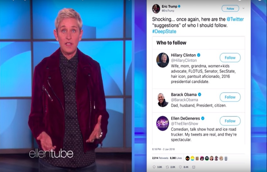 Ellen responds to Eric Trump's claim that she's part of the 'Deep State' conspiracy