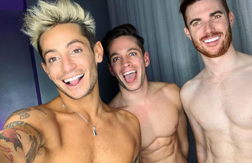 Frankie Grande with his throuple, Mike and Daniel