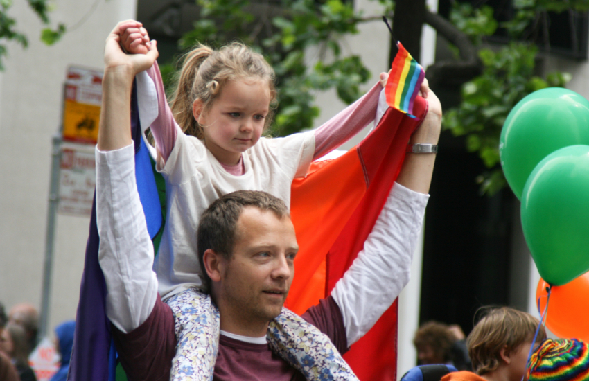 Gay dad with child at San Fransisco Pride 2008