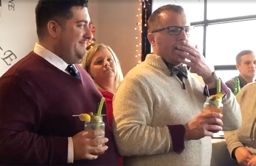 Hingham Public Schools uploaded the footage earlier this month showing teacher Christopher Landis wiping away tears (Photo: Facebook)