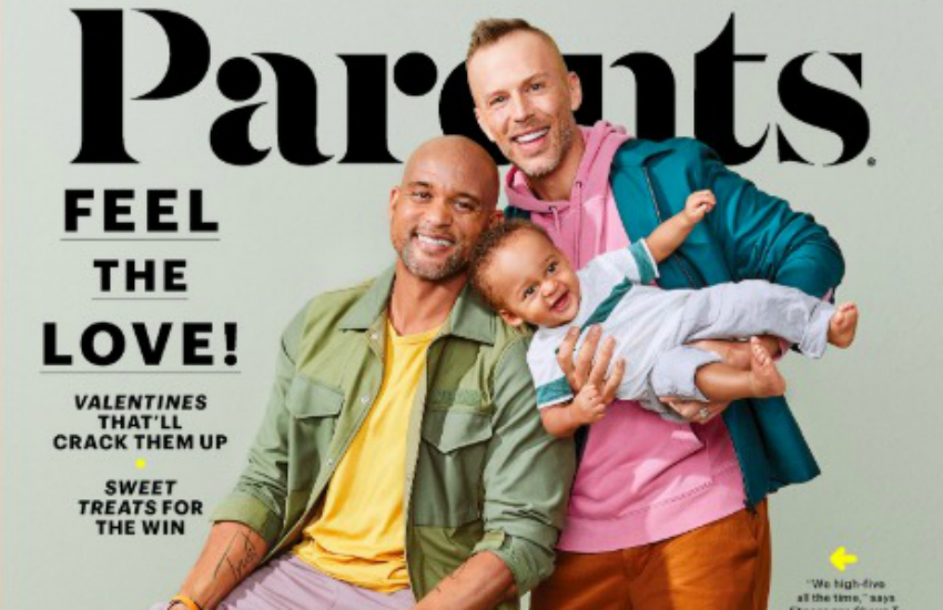 Shaun T. Fitness, a fitness motivational speaker, and his husband Scott Blokker on the February 2019 cover of Parents Magazine