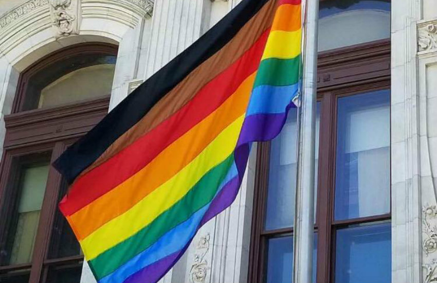 Original rainbow flag with additional stripes in Philadelphia