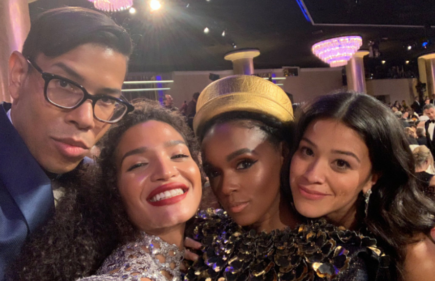 Pose creator Steven Canals with actress Indya Moore, singer Janelle Monae and actress Gina Rodriguez