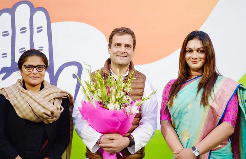 Trans politician Apsara Reddy, right, with party members on her appointment as national general secretary (Photo: Facebook)
