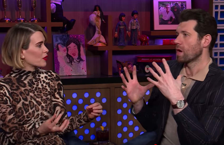 Sarah Paulson and Billy Eichner on Andy Cohen's couch.