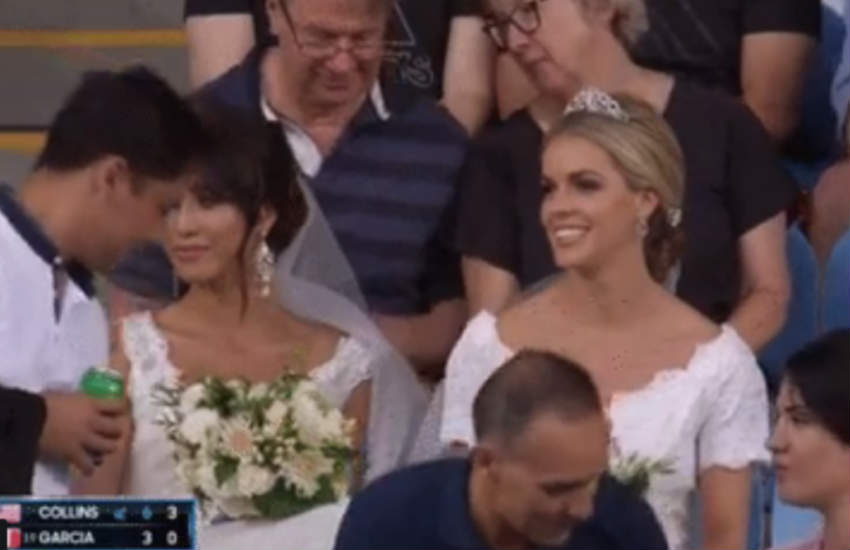 Two brides attended a tennis match at the Australian Open.